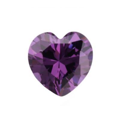 Фианит аметистовый сердце от 4×4 мм до 6×6 мм