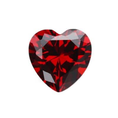 Фианит гранатовый сердце от 4×4 мм до 6×6 мм