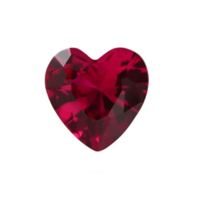 Рубин искусственно выращенный сердце от 3×3 мм до 8×8 мм
